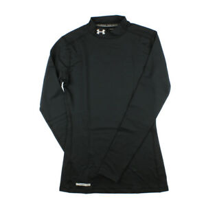 Under Armour 4196 Athletic Womens Goldgear Fitted Mock Shirt Sports Black Metal