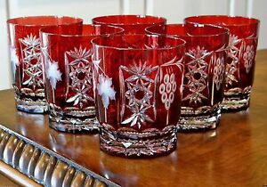 AJKA MARSALA DOF ROCKS WHISKEY GLASSES TUMBLERS RUBY RED CASED CRYSTAL NEW!