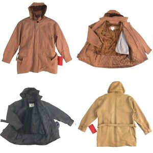 Assorted Vintage Men Leather 34 Length CoatJacket With Hoodie Limited Style