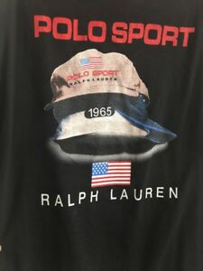 Ralph Lauren Polo Sport T Shirt Large Hat Graphics On Back Size XL Spell Out USA