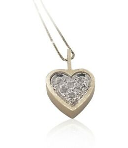 14K Yellow gold Necklace Heart Diamonds