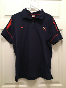 Virginia UVA Cavaliers Women's Soccer Team Issued Nike Fit Dry Blue Polo XL