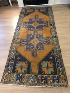VINTAGE OUSHAK WOOL TURKISH HANDMADE RUNNER RUG 8'6