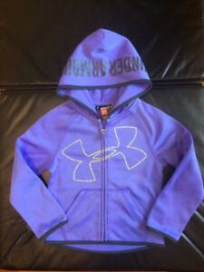 Under Armour UA Girls Youth Lilac purple silver hooded zip Active jacket 4 wtag