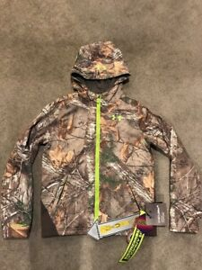 Under Armour ColdGear Infrared Storm 2 Scent Control Camo Zip Hoodie Youth Large