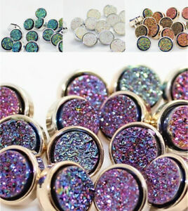 8Pcs 11mm Round Colorful Shimmer Resin Buttons Shank Backhole DIY Sewing Craft