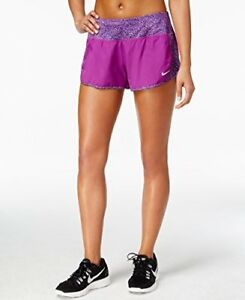 Nike Womens Dri-FIT Crew Printed Shorts (XL Purple Dusk)