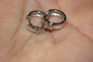 14K White Gold Small Huggie Hoop earrings With Diamond accent For Pierced ears