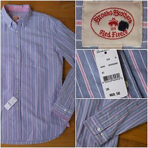 NWT 2015 $70 Brooks Brothers Red Fleece Sport Shirt in Blue Wide Stripe Large