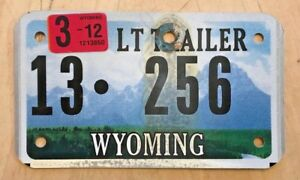 WYOMING CYCLE SIZE LIGHT SMALL TRAILER LICENSE PLATE quot; 13 256 quot; WY