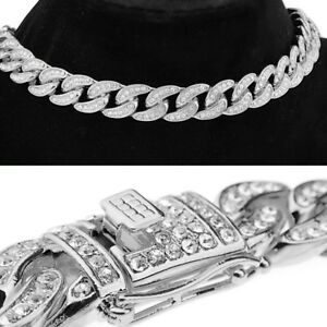 Mens Choker Silver Tone Cuban Bling Chain Chunky Alloy Full Stone 16