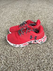 Boys UNDER ARMOUR FitnessRunning Lace-Up Shoes~RedGray~Size 1Y