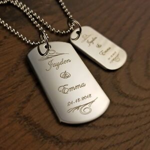 Engraved Dog Tag Set Couples Necklace Set Personalized for Free Valentines Day