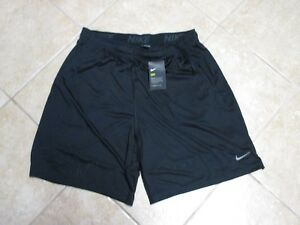 NIKE (DRIFIT) TRAINING SHORTS (XL) NWT $35 SOLID BLACK WGRAY SWOOSH ON THE LEG