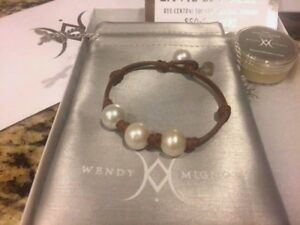 WENDY MIGNOT BREEZY 3 FRESHWATER PEARLS LEATHER BRACELET- RET $150 - GORGEOUS!