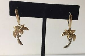 14K TWO TONE GOLD PALM TREE EARRINGS - PERFECT FOR BEACH WEDDING
