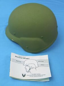 US Army Military Issue Ballistic Combat Green Helmet New w Book
