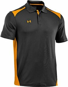 Under Armour Men's Team Colorblock Polo BlackSteeltown Gold Small