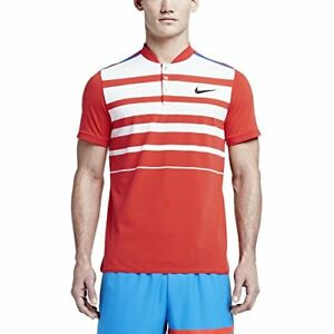 Nike Men's Dri-Fit Nikecourt Premier RF Tennis Polo Shirt-Light CrimsonWhite