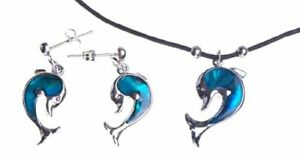 Necklace and Earring Set for Women Silver Blue Abalone Paua Shell Dolphin Girl