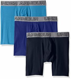 "Under Armour Men's Charged Cotton Stretch 6"" Boxerjock 3-Pack Brilliant BlueR"