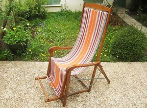 REPOSANT FRENCH TRANSATLANTIC WOODEN LOUNGE DECK CHAIR OAK CANVAS GARDEN DESIGN