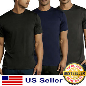 Mens New Athletic Moisture Wicking Dri Fit Gym Workout Sports Solid T Shirt S XL $10.75