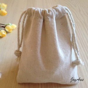 10x Vintage natural linen pouch bag wedding birthday party gift favor bomboniere