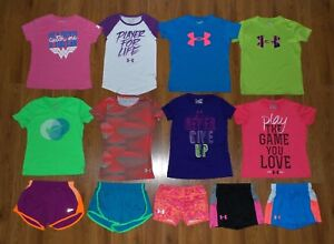 Lot 13 Girl's UNDER ARMOUR NIKE Heatgear Shorts Shirts Tops YSM Youth Small