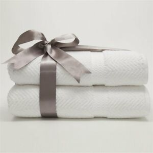 Luxury Hotel & Spa Herringbone Weave 100% Turkish Cotton Bath Towels - Set of 2