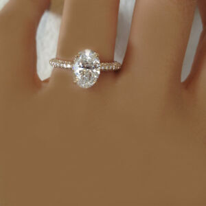 18k White Gold Oval Cut Classic Design Diamond Engagement Ring 2.21 Carat