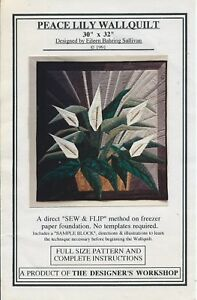 PEACE LILY sewing pattern 30quot;x32quot; WALL QUILT sew amp; flip on paper foundation LOVE $9.99