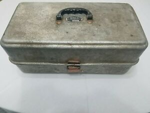 Vintage Antique Original Umco Corp Fishing Tackle Box Full of Fishing Lures Bait