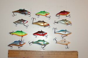 #29 Mixed Lot Of Twelve Ratlin Raps Rapala  Fishing Lures