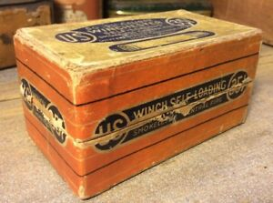 Vintage Winchester .351 Winch Self Loading Rifle Two Piece Box Ammo Cartridge US