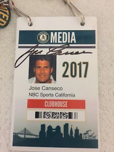 IMPOSSIBLE 2017 NBC SPORTS Used Shirt Jacket Oakland A's Media Pass Jose Canseco