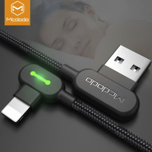 Mcdodo Right Angle Game Cable Sync Chaging Data USB LED Cord iPhone 12 11 XS X $7.99