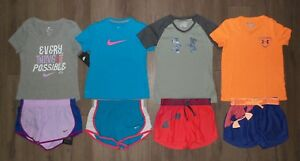 Lot 8 Girl's NIKE UNDER ARMOUR Heatgear Shorts Shirts 4 NEW 4 USED Youth Small