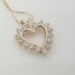 14K Yellow gold Necklace Heart Diamonds approx 0.40 CT
