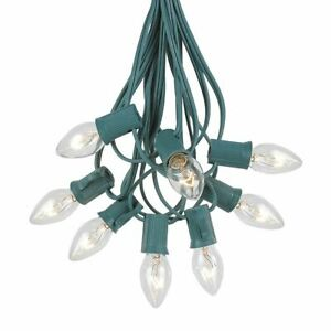 25 Foot C7 Twinkle Christmas Light Set Hanging String Lights Green Wire