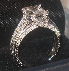 3 Ct Princess cut Solitaire Antique Diamond Engagement Ring Vintage White Gold