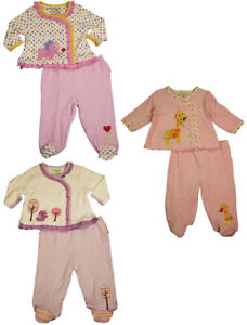 Happi by Dena Baby Girls Newborn 2 Piece Long Sleeve Top amp; Footed Pant Set $7.60
