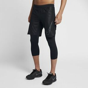Men's Nike Aeroswift Hybrid 2-in-1 Running Shorts Black LARGE 869502 010