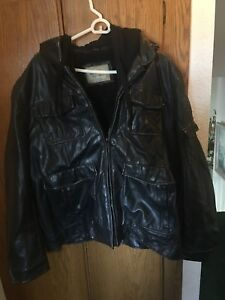 BLACK LEATHER JACKET WITH BLACK HOODIE [XL AND TALL MEN]