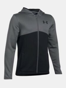 Under Armour Kids Boys 1299347 GARCONS F-Zip Hoodie Storm Jacket Logo GREY SMALL