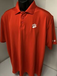 Clemson Tigers Under Armour Men's Short Sleeve Golf Polo Shirt Size LARGE (m1)