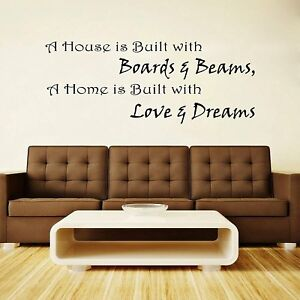 A House Is Built Quotes Wall Sicker Removable Vinyl Decal Style Home Décor