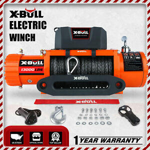 X-BULL 12V Electric Winch 13000lbs Waterproof Truck Trailer Synthetic Rope 4WD