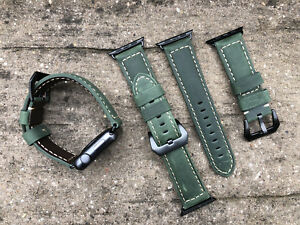 Genuine Green Leather Watch Strap Bracelet Band For Apple Watch 123 3842mm