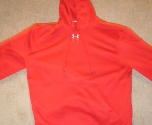 Mens UNDER ARMOUR Loose Fit Athletic Hoodie Sweatshirt RED Sz.XL small rip